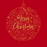Merry Christmas golden line art object icons. stock illustration