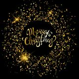 Merry Christmas golden ornaments for poster, greeting card, party invitation, banner or flyer on black background with golden sand. Vector Illustration Royalty Free Stock Photos