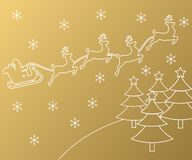Merry Christmas golden outline label set with winter city, xmas tree Stock Images
