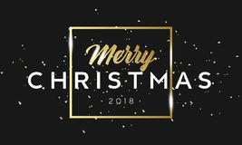 Merry Christmas golden phrase in frame with confetti. Luxury black and gold color background. Premium vector with Royalty Free Stock Photo
