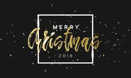 Merry Christmas golden phrase in frame with confetti. Luxury black and gold color background. Premium vector with Stock Image