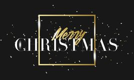 Merry Christmas golden phrase in frame with confetti. Luxury black and gold color background. Premium vector with Royalty Free Stock Photos