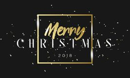 Merry Christmas golden phrase in frame with confetti. Luxury black and gold color background. Premium vector with Royalty Free Stock Image