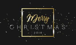 Merry Christmas golden phrase in frame with confetti. Luxury black and gold color background. Premium vector with Stock Photo