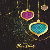 Merry Christmas Golden Pink Blue Glitter balls. Beautiful Decoration Bauble Stock Photo