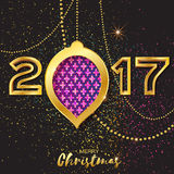 Merry Christmas Golden Purple Glitter balls. 2017 Beautiful Decoration Bauble Royalty Free Stock Photography