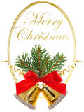 Merry Christmas with golden round frame and Christmas decoration Royalty Free Stock Photo