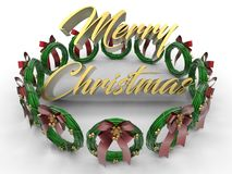 Merry christmas golden text array. 3D render illustration of the merry Christmas concept. The golden text is positioned in middle and surrounded by green Royalty Free Stock Photography