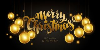 Merry Christmas gold Stock Images