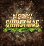 Merry Christmas Golden Text on Dark Background Stock Images