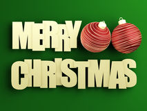 Merry christmas. Golden Merry Christmas 2013 text with red christmas ball on green background. 3d image Royalty Free Stock Images