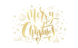 Merry Christmas golden text on white background. Stock Photography