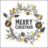 Merry Christmas Golden White Ornament Card. Design Royalty Free Stock Photography