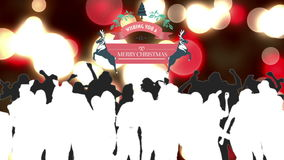 Merry christmas graphic with dancing people stock footage