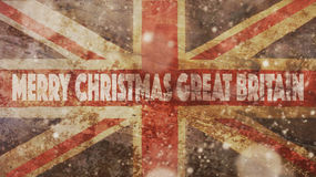 Merry Christmas Great Britain. Flag. And Wood Royalty Free Stock Image