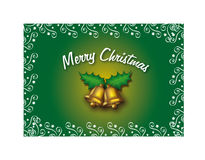 Merry Christmas (green). Christmas with golden bells over a green background vector illustration