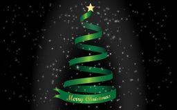 Merry Christmas and green Christmas tree Background. Background gold text Merry Christmas and green Christmas tree Royalty Free Stock Photography