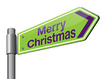 Merry christmas. Green color merry christmas road sign Stock Photos