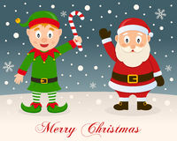 Merry Christmas - Green Elf & Santa Claus Royalty Free Stock Image