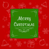 Merry christmas in green frame, greeting card Stock Photo