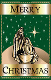 Merry Christmas Green Nativity Stock Image