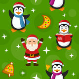 Merry Christmas Green Seamless Pattern. A seamless pattern with Santa Claus, cute penguins and Christmas cookies, on green background. Useful also as design Royalty Free Stock Photos