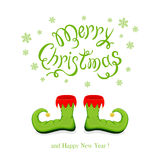 Merry Christmas and green shoes elf Royalty Free Stock Photos