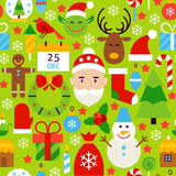 Merry Christmas Green Tile Pattern. Happy New Year Flat Design Vector Illustration. Seamless Background Stock Photography
