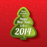 Merry Christmas green tree greeting card. 2014. Merry Christmas tree greeting card. Merry Christmas and Happy New Year lettering. Applique background. Vector Royalty Free Stock Images