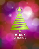 Merry Christmas green tree paper Royalty Free Stock Photo