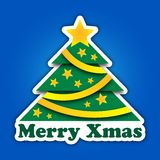 Merry Christmas green tree with stars and ribbons Royalty Free Stock Images