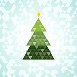 Merry Christmas green tree, triangular pattern Royalty Free Stock Photography