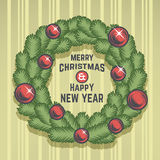 Merry Christmas green wreath vector design Stock Images