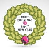 Merry Christmas green wreath vector design Royalty Free Stock Photo