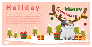 Merry Christmas Greeting background with cat wearing reindeer costume Royalty Free Stock Photos
