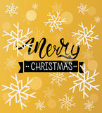 Merry Christmas greeting background. Holiday winter template with snowflakes and bokeh effect. Vector Illustration. Stock Photography