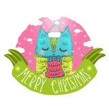 Merry Christmas greeting background with an owl. Royalty Free Stock Photo