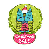 Merry Christmas greeting background with an owl. Royalty Free Stock Image