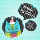 Merry Christmas greeting background with an owl. Royalty Free Stock Images