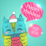 Merry Christmas greeting background with an owl. Royalty Free Stock Photos