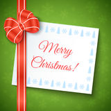 Merry Christmas Greeting Background. With red bow and white paper sheet. Vector festive design Stock Image