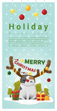Merry Christmas Greeting banner with cat wearing reindeer costume Royalty Free Stock Photography