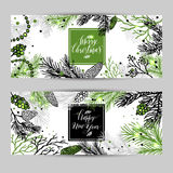 Merry Christmas greeting banners with new years tree and calligr. Aphic sigh Happy New Year and Merry Christmas. Vector Holiday illustration Stock Photos