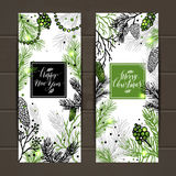 Merry Christmas greeting banners with new years tree and calligr Stock Photo