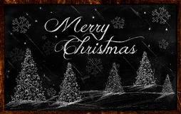 Merry Christmas Greeting Blackboard. Greeting card Royalty Free Stock Photography