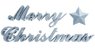 Merry Christmas greeting, bluish 3d letters and star on white Royalty Free Stock Photography