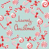 Merry Christmas greeting with candy cane sweets vector illustration