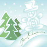 Merry christmas greeting card 2. Merry christmas greeting card with sliding snowman down the hill stock illustration