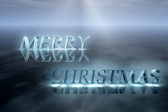 Merry Christmas greeting card. Ice letters on the ice and light rays, Christmas winter background in blue colors Stock Photography