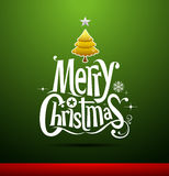 Merry Christmas Greeting Card. Christmas Greeting Card. Merry Christmas lettering on green background,  illustration Stock Photos